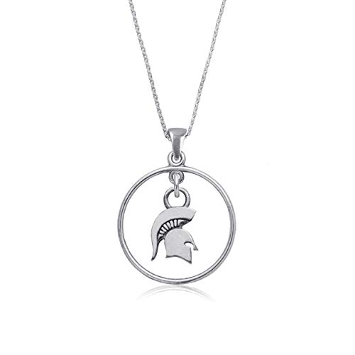 (Michigan State University Spartans MSU Sterling Silver Jewelry by Dayna Designs (Open Drop Necklace))