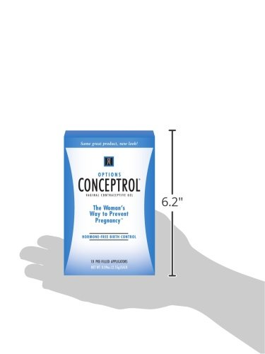 Options Conceptrol Gel with 10 Pre-Filled Applicators, Spermicidal Lubricant, Female Contraceptive Gel Hormone-Free Condom-Safe Birth Control, Easy Application