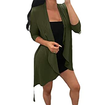 neveraway Womens Long Sleeve Open Fitted Trendy Chiffon Overcoat Trench Coat Green L