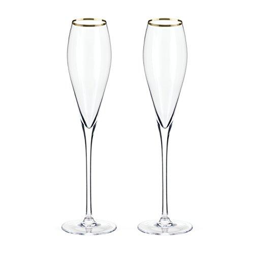 Belmont Gold Rimmed Crystal Champagne Flutes by Viski (Set of 2) Rosé, Prosecco glasses - Glitzy Gold Glasses