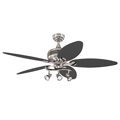 (Westinghouse Lighting 7234265 Xavier II 52 Inch Ceiling Fan, Brushed Nickel w Gunmetal Accents)