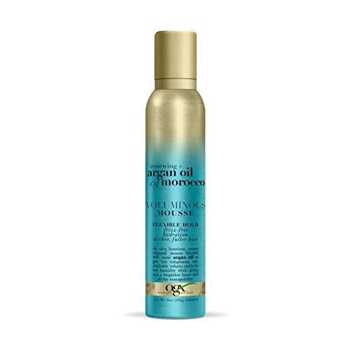 OGX Renewing + Argan Oil of Morocco Voluminous Mousse, 8 Ounce (Best Styling Products For Fine Frizzy Hair)