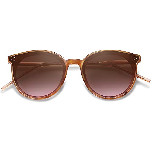 - SOJOS Designer Round Sunglasses for Women Oversized Frame with Rivets DOLPHIN SJ2068 with Yellow Tortoise Frame/Gradient Brown Lens