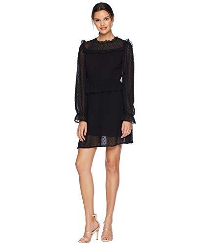 (Romeo & Juliet Couture Women's Swiss Dot Woven Dress Black Medium)