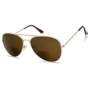 SunlgassUP Classic 80's Full Metal Aviator Style Bifocal Sunglasses Assorted Power Strength (Gold Frame | Brown, +1.75)