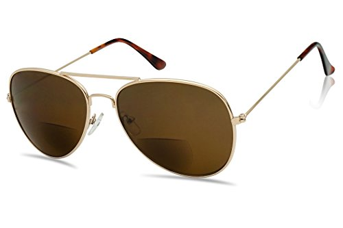 SunlgassUP Classic 80's Full Metal Aviator Style Bifocal Sunglasses Assorted Power Strength (Gold Frame | Brown, +1.00)