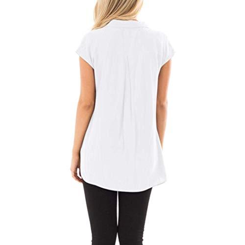 Et Courtes Blouse Blouse Manches Confortable Mousseline Grande Dcontract Revers Blanc Manche Chemise Chemisier Large Style Spcial Elgante Taille Femme Shirt Fashion Uni Tops qwnSppXR