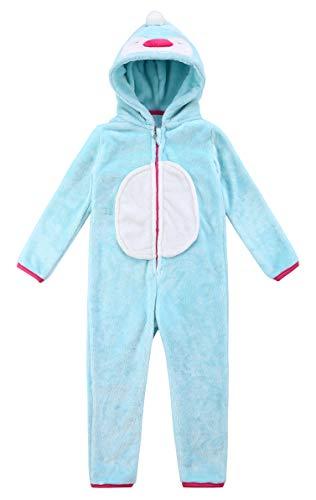 SunRise Childrens Pajamas Sleeping Wear Anime Cosplay Onesie Homewear(125#,Turquoise Penguin)