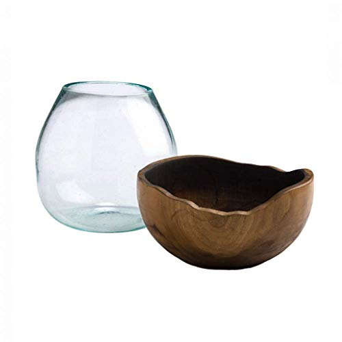 Vivaterra Blown Glass Vase with Teak Base, Small - Approx. 6 Dia x 6 H ()