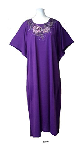 (15092 Lavender) Damen Cotton/Polyester Embroidery Knit Long Kaftan. One Size Fit UK 10-32