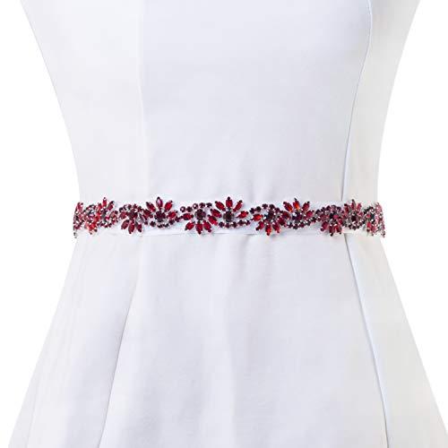 Bridal Applique, FANGZHIDI Pure Handmade 1 Yard Rhinestone Applique for Wedding Belt Sash, Wedding Cake Decoration (026- Red)