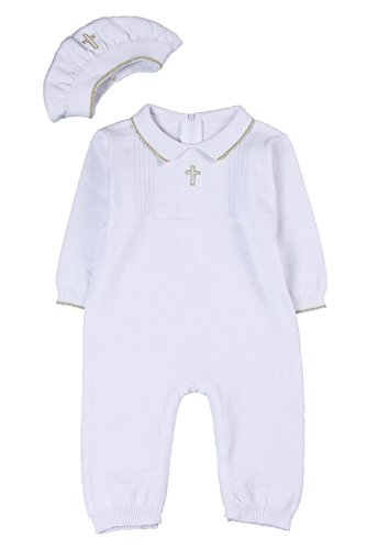 HAPIU Baby Boy Baptism Outfit with Hat Christening Outfit-Cross Detail, 0-3M, Pure White