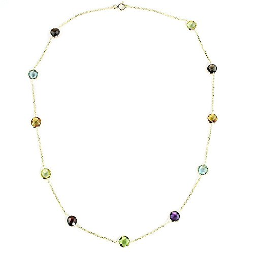 14K Yellow Gold Handmade Station Necklace With 6 MM Gemstones (16, 17, 18 and 20 Inches) by amazinite
