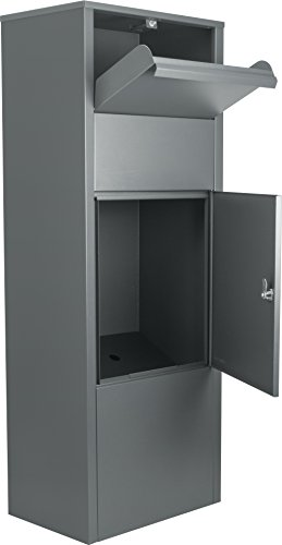(winbest Large Steel Freestanding Floor Parcel Lockable Drop Slot Mail Box, Grey)