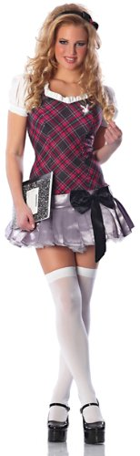 Playboy Collegiate Cutie Costume, Purple/Black/Silver, (Officially Licensed Playboy Costumes)