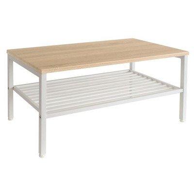 センターテーブル(ローテーブル/リビングテーブル) Lily 幅90cm スチール脚 収納棚付き 木目調 NA/WH ナチュラル×ホワイト[通販用梱包品] B07FJMWKJD