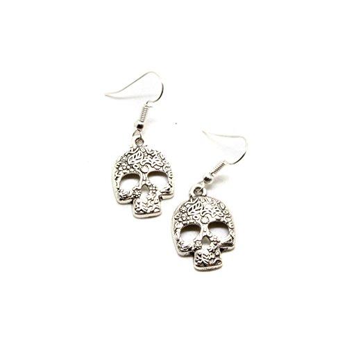 Silver Floral Sugar Skull Drop Earrings [Día de los Muertos] (Skull Dangle)