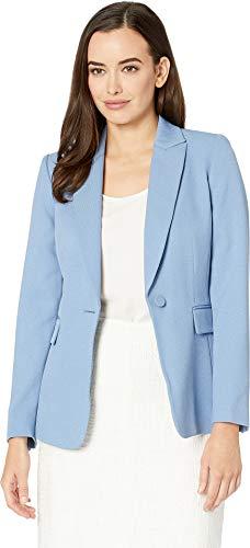 (Tahari by ASL Women's Parket Twill One-Button Jacket Blue Ice 4)