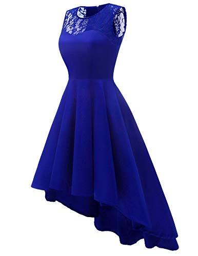 Sleeveless Hi Lo Women's Royalblue Lace Party Prom Swing Dress Cocktail Elegant Vintage Homrain qU4wICq