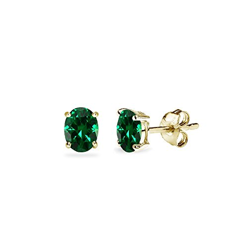 5x3mm Oval Emerald (Yellow Gold Flashed Sterling Silver Simulated Emerald 5x3mm Oval-Cut Solitaire Stud Earrings)