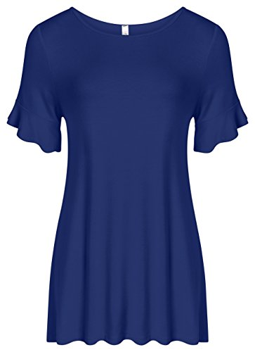 Simlu Royal Blue Tunic Tops for Women Ruffle Short Sleeve Loose Fit Flowy Tunics,Royal Ruffle Sleeve,Large