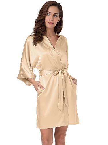 SIORO Women's Satin Robe,Silky Kimono Bathrobe for Bride Bridesmaids,Wedding Party Loungewear Short,Champagne L