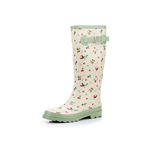 (Fashion Rain Boots Ladies Rain Boots Cherry Waterproof Shoes Cover Shoes Full Rubber Shoes Waterproof Non-Slip Boots (Color : Matcha Green, Size : 37))