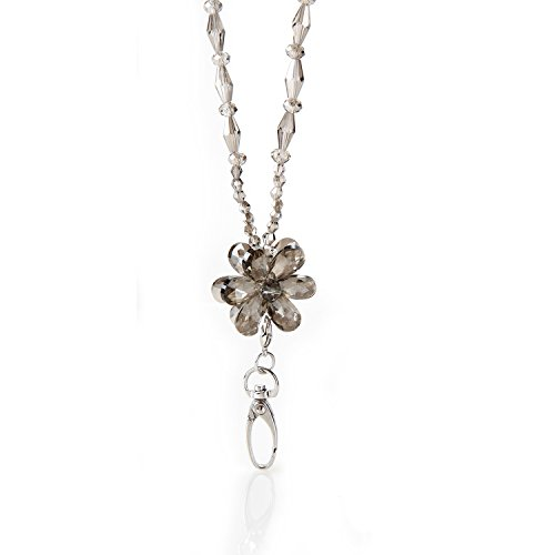 (Moonflower Beaded ID Necklace Lanyard Badge Holder)
