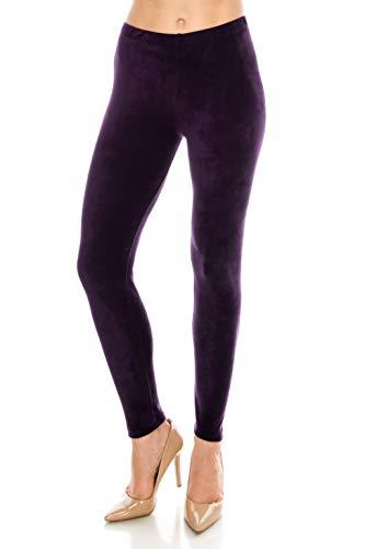(ALWAYS Women Stretch Velvet Leggings - Premium Soft Velour Warm Winter Solid Basic Pants Wine Plus)