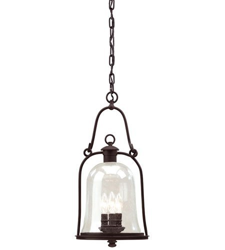 (Outdoor Pendant 3 Light with Natural Bronze Finish Hand Forged Iron Material Candelabra 10 inch Wide 180 Watts )