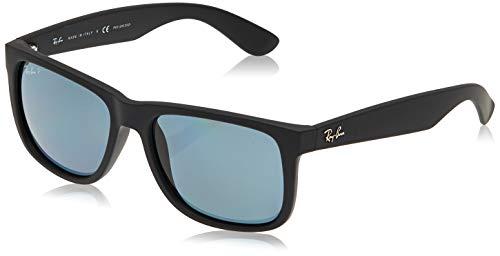 Ray-Ban RB4165 Justin Rectangular Sunglasses, Black Rubber/Polarized Blue, 55 mm