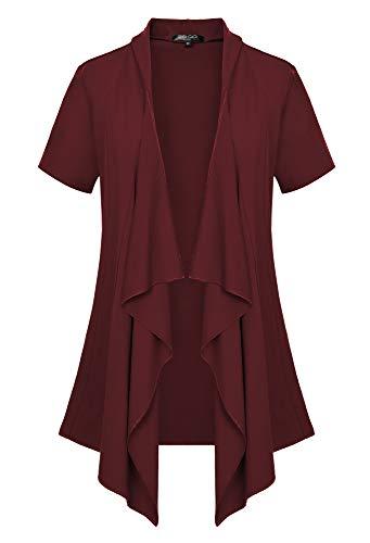 (Women's Short Sleeve Draped Open Front Cardigan Vest Asymmetric Hem (XL, Windsor Wine))