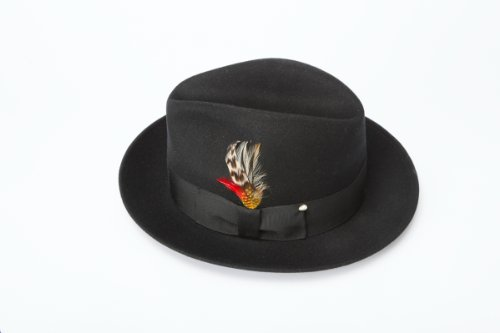 New Mens Blues Brothers Style 100% Wool Fedora Homburg Black Hat