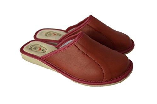 Natleat Slippers womens slippers 59 - Zapatillas de estar por casa de Piel para mujer cereza