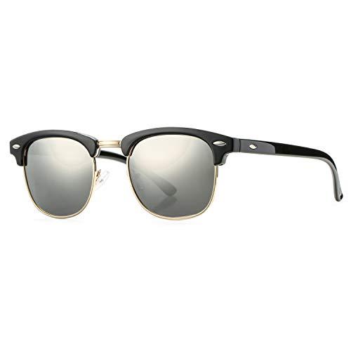 Pro Acme Classic Semi Rimless Polarized Sunglasses with Metal Rivets (Silver Mirror) ()