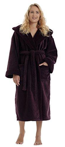 - Arus Women's Sherpa Trim Microfiber Velour Touch Hooded Bathrobe Fleece Robe Purple SM