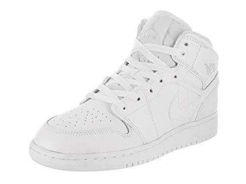 White Air Jordans (Jordan Nike Kids Air 1 Mid BG White/Pure Platinum/Wht Basketball Shoe 6 Kids US)