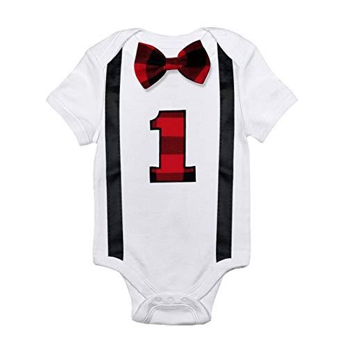 Simplee Kids Baby Boy Romper Pattern First Birthday Bow Tie Bodysuit Infant Jumpsuit 12 Months -