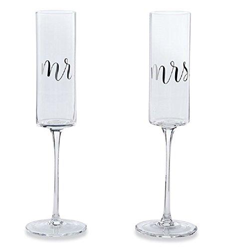 Wedding Champagne Glass Set, Mr. and Mrs. 9oz Glasses.