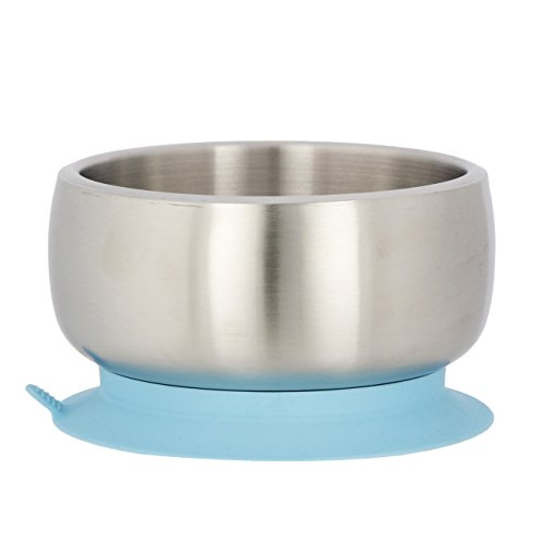 Avanchy Stainless Steel Baby, Toddler Feeding Divided Plate + Bowl + 2 Spoons Giftset. Infant, Kid or Child Gift. 18/8, BPA Free, BPS Free, Lead Free and Phthalate Free. Blue by Avanchy (Image #1)