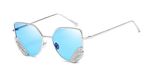 du lunettes style polarisées rond vintage en Lennon métallique soleil retro Puce de Bleue inspirées Transparente cercle TqIqCSgw