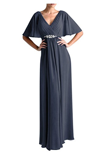[WeiYin Women's Chiffon Flutter Sleeve Long Evening Dress Mother of the Bride Dresses Steel US 22W] (Plus Size Evening Wear)