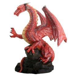 Red Dragon On Rock Fantasy Figurine - Dragon Figure Figurine Statue