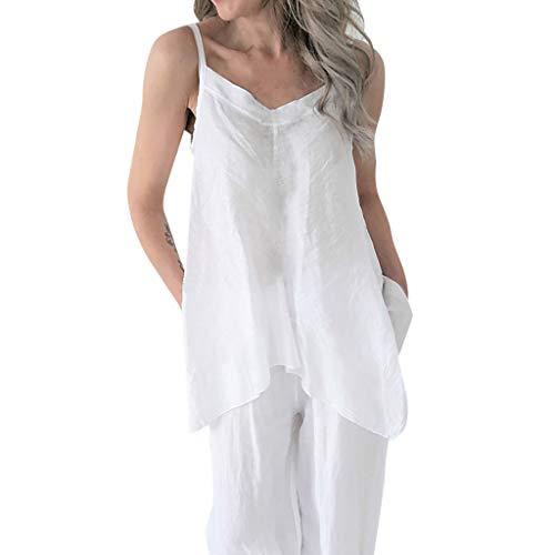 iYBUIA Women's Solid Color V-Neck Irregular Hem Strap Vest Loose Soild Linen Tunic Top - Butterfly Tone Brooch Two