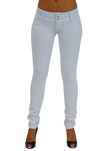 Elásticos Alta Pantalones Mujer Blanco Skinny Minetom Leggings Flacos de Cintura Invierno Otoño Pantalones Slim Jeans TPwFRqH