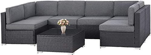 SOLAURA 7-Piece Outdoor Furniture Set,Black Brown Wicker Furniture Modular Sectional Sofa Set
