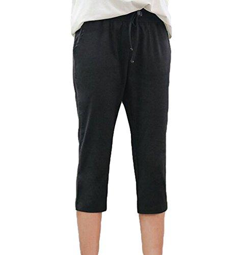 YiLianDa Mujeres Elástico Cintura para Playa Casual Primavera Verano Pantalones Negro
