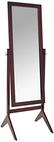 Crown Mark Espresso Finish Wooden Cheval Bedroom Floor Mirror - Wood cheval mirror Versatile design Easy assembly - mirrors-bedroom-decor, bedroom-decor, bedroom - 31Y5OUURUTL -