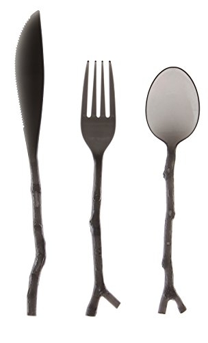 Creative Converting Madhouse by Michael Aram 12 Count Translucent Assorted Twig Design Cutlery, Black - 134182 (Flatware Unique)