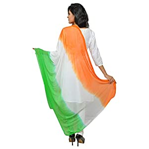 Banjara Women's Chiffon Tri Color Dupatta (Tiranga _Orange, White, Green_ Free Size)